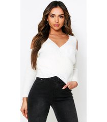 cold shoulder knitted sweater, cream