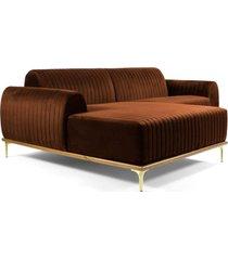 sofã¡ 3 lugares com chaise base de madeira euro 230 cm veludo telha - gran belo - cobre - dafiti