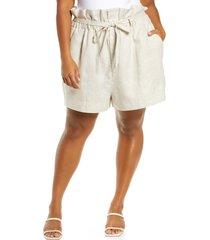 plus size women's reformation theodore paperbag waist linen shorts, size 24w - beige