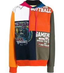 amen patchwork hoodie - orange