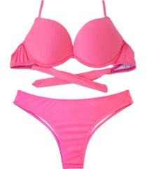 biquíni bojo bolha alça estreita divance rosa neon calcinha tradicional