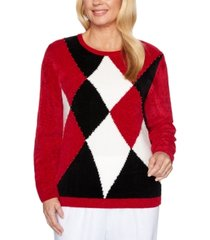 alfred dunner petite classics chenille colorblocked sweater