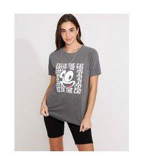 camiseta ampla de algodão gato félix manga curta decote redondo chumbo