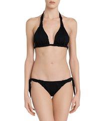 la perla women's aqua drapes side-tie bikini bottom - black - size l