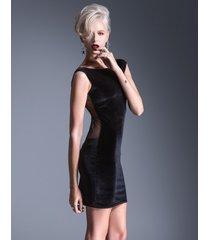sukienka wieczorowa mini z transparentną siatką