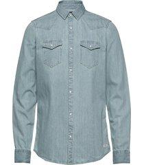 ams blauw denim western shirt in seasonal washes overhemd casual blauw scotch & soda