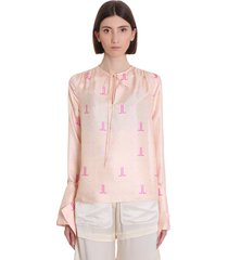 lanvin blouse in rose-pink silk