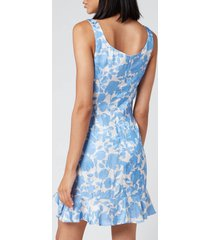 de la vali women's christabel printed jacquard short dress - blue primrose - uk 10