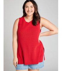 lane bryant women's sleeveless sweater tunic 10/12 lipstick red