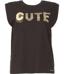 katoenen t-shirt met strass stenen rama  zwart