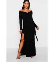 bruidsmeisjes maxi jurk met split en open schouders, zwart