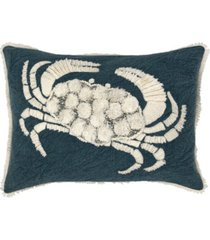 """embroidered crab decorative pillow, 18"""" x 18"""""""