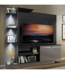 """estante c/ 3 leds painel tv 55"""" e 2 portas dallas multimã³veis preto/lacca fum㪠- preto - dafiti"""