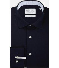 michaelis navy shirt met patroon in boord slv7