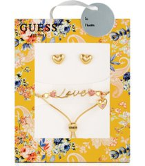guess rose gold-tone and crystal love snake chain slider bracelet and stud set
