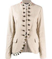 bazar deluxe beaded mock-neck jacket - neutrals