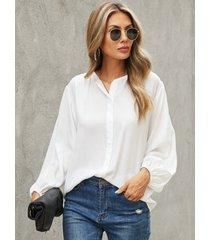blusa de manga larga con cuello de muesca y botones delanteros yoins