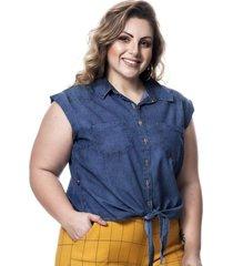 camisa regata feminina cropped jeans de amarrar plus size - azul - feminino - dafiti