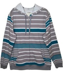 men's hoodie zip front long sleeve jacket gray, turquoise white stripe