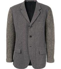 yohji yamamoto pre-owned heavy knit arm blazer - grey