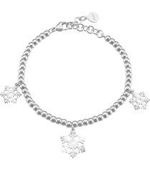 bracciale fiocchi di neve in acciaio rodiato e cristalli per donna