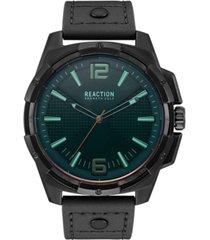 kenneth cole reaction men's black faux leather strap watch 51mm