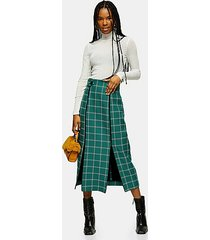 green check split trim midi skirt - green