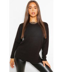 lichte trui met ronde hals, zwart