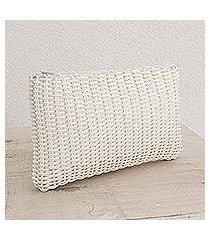 recycled plastic cosmetic bag, 'eco weave in snow white' (guatemala)