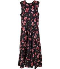 black daisy sleeveless tiered maxi dress