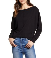 women's caslon bateau neck exposed seam cotton blend top, size x-small - black