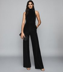 reiss dori - velvet open back jumpsuit in black, womens, size 10
