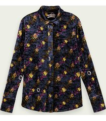 scotch & soda fluwelen blouse met print en knoopsluiting