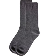 natori women's solid flat knit cashmere blend crew socks, 2 pack