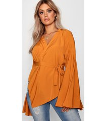 plus wikkel blouse met wijde mouwen en strik, oranje
