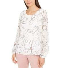 alfani petite floral-print pleat-sleeve top, created for macy's