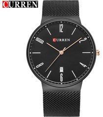 curren / 8257 reloj de pulsera de malla de acero-negro