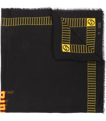 gucci knitted logo scarf - black