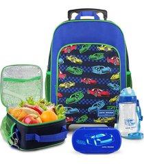 conjunto mochila com rodinhas g, lancheira térmica, pote e squeeze sapeka carro jacki design azul marinho