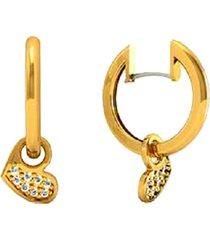 brinco argola com coração cravejado com brilhantes em ouro 18k - kanui