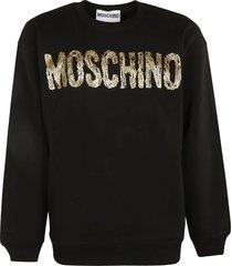 moschino chest logo ribbed sweatshirt