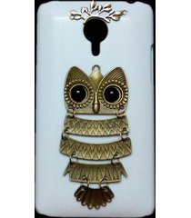 3d cute retro bronze metal owl branch hard back skin case cover for meizu mx4