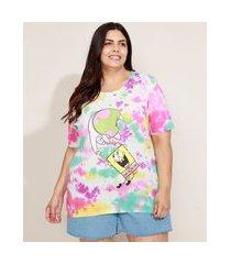 blusa feminina plus size bob esponja e patrick estampada tie dye manga curta decote redondo multicor