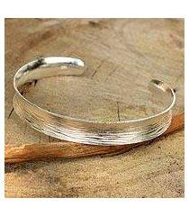 sterling silver cuff bracelet, 'luminosity' (thailand)