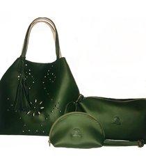 bolso fe style creative reversible caliope para dama - verde oliva con beige