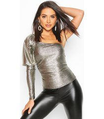 metallic one shoulder puff sleeve top, gold