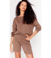 womens slash neck jumper shorts lounge set - taupe