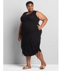 lane bryant women's ruched side midi dress 34/36 black