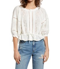 women's free people eyelet crop top, size x-small - ivory