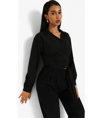 blouse met strik, black